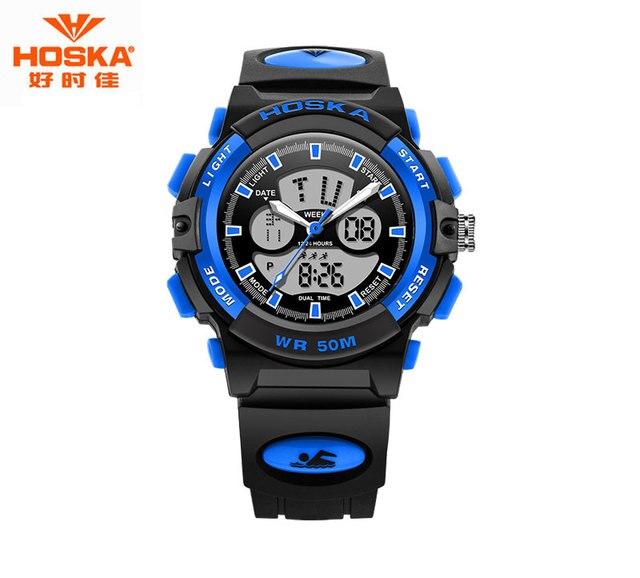 HOSKA Водонепроницаемый 50 м Мужчины Цифровые Часы Плавание Цифровые Часы Секундомер Цифровые Часы Часы Спорт montre luxe HD005