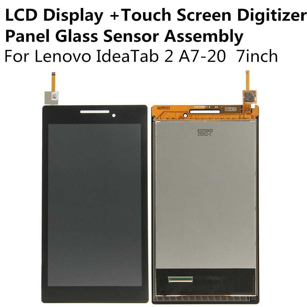 LCD Display + Touch Screen Digitizer Panel Glass Sensor Assembly For Lenovo IdeaTab 2 A7-20 7inch Replacement Parts Repair Part