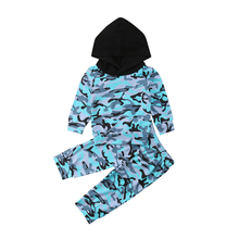цена на 2Pcs Toddler Baby Boy Girl Clothes Autumn Hooded Camouflage Tops Pants Outfits Sets Tracksuit 2019
