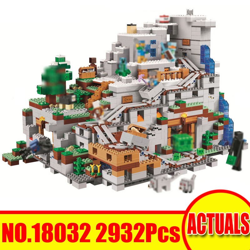 Lepin 18032 2932Pcs Minecrafted Figures Mountain Cave Compatible 21137 Building Blocks Bricks Set Toys For Children Model Gift smartable building blocks of my world minecrafted lepin 4in1 steve with weapon figures brick model toys for children gift lr 823