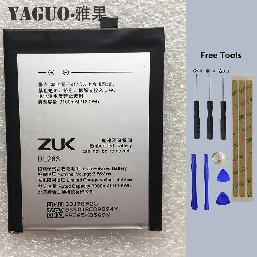 2019 Original Battery 3100Mah BL263 Replacement For Lenovo ZUK Z2 PRO Z2pro Smart Mobile Phone + Free Tools