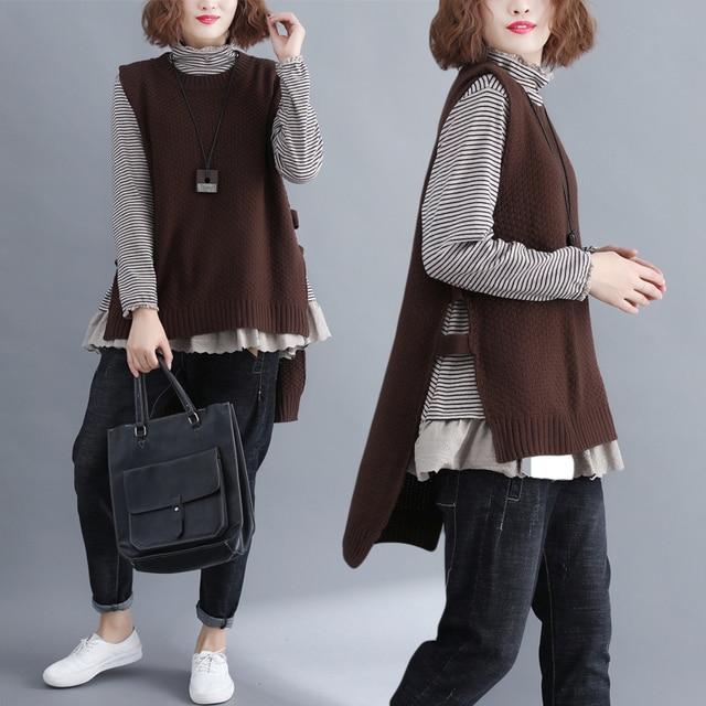 6e6e70cb09d4e2 Harajuku Mori Girl Autumn Sleeveless Knitted Sweater Vesten Dames Hippie  Boho Women Long Pullover Vest Loose Outerwear Jacket