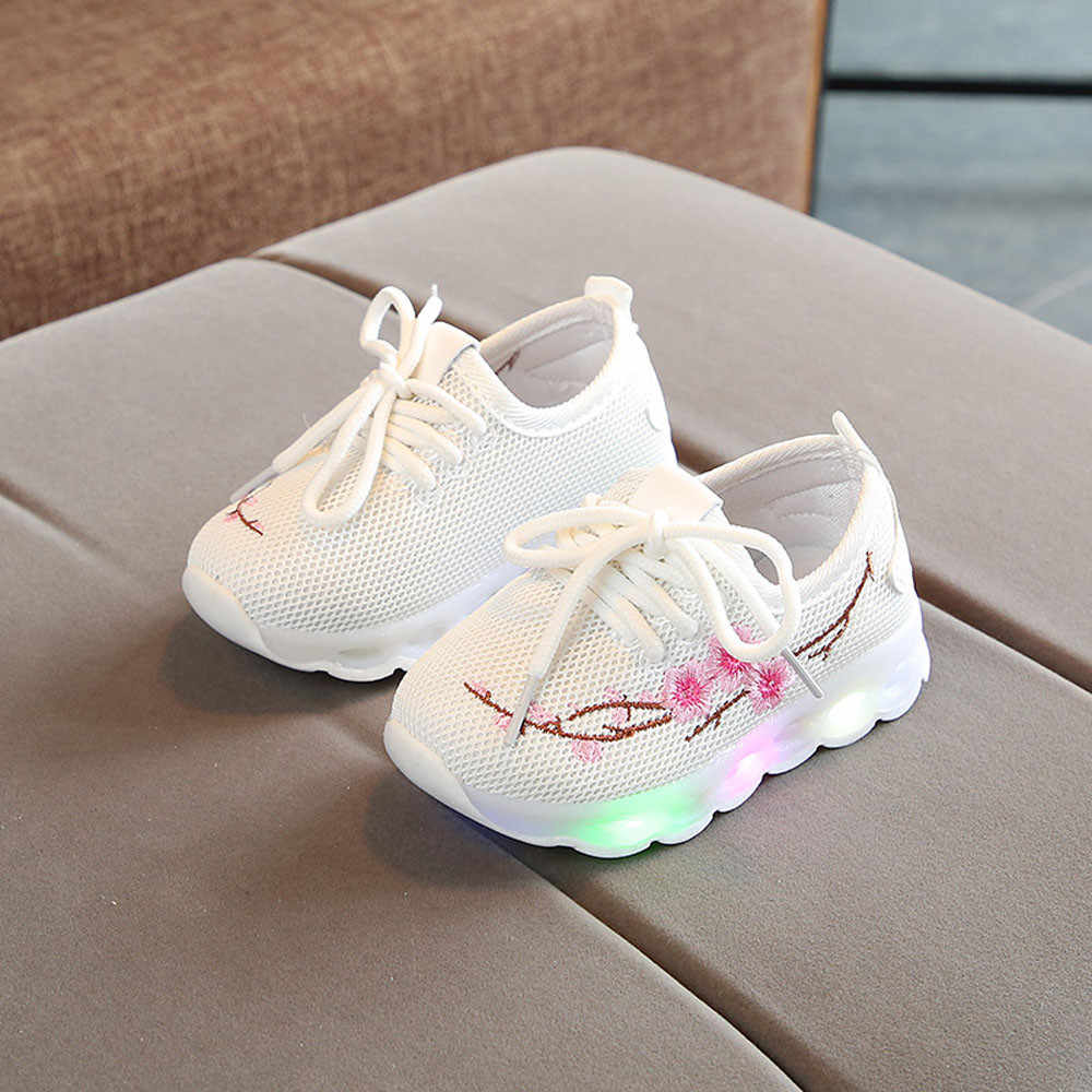 Niños bebés niñas bordado flor LED zapatos deportivos luminosos para niños correr zapatillas brillantes # XTN