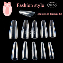 Transparent long style flat false nail tip