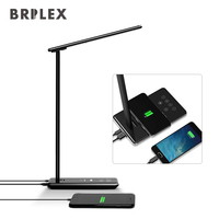 Desk LED Light Table Lamp Wireless Charger Dimmable 4 Modes Smart Timing Customization Working Reading Studying Use Black Brilex