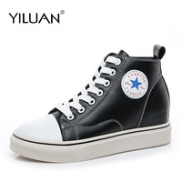 Women sneakers 2018 Spring Autumn breathable Genuine Leather shoes women Increased internal5cm casual shoes size 34 40