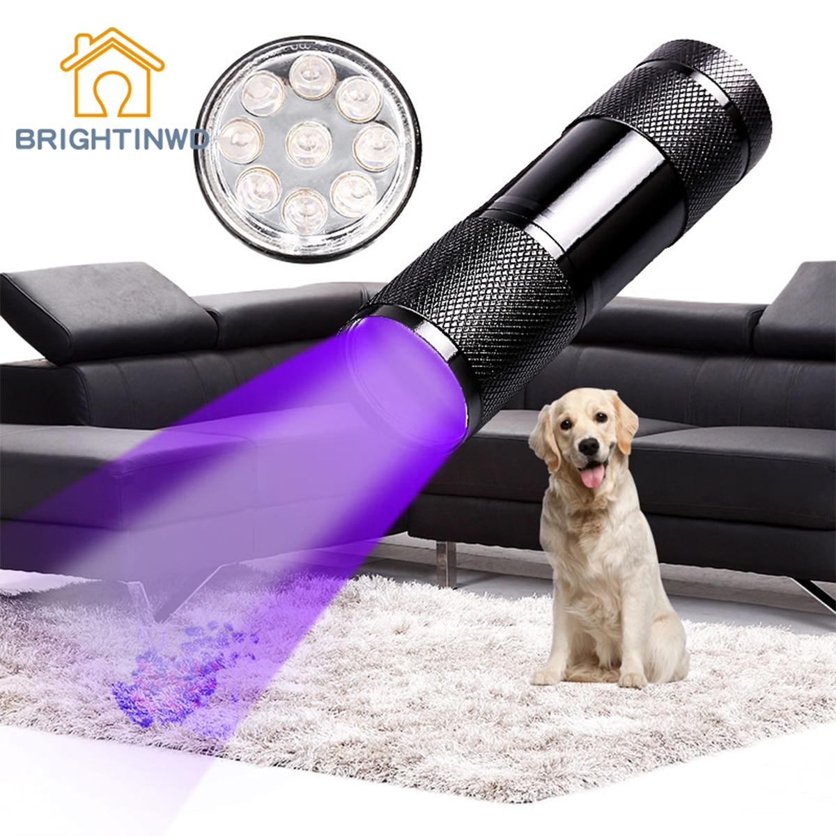 BRIGHTINWD Flashlight Mini UV LED uf Flashlight Violet Light 9 LED UV Torch Light Lamp for AAA Battery Ultraviolet flashlight