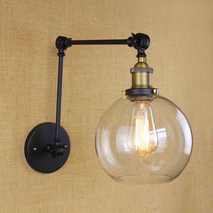 Американский кантри промышленного урожай железа бра стеклянный шар тень складная кулисой исследование стены спальни свет бесплатная дост…