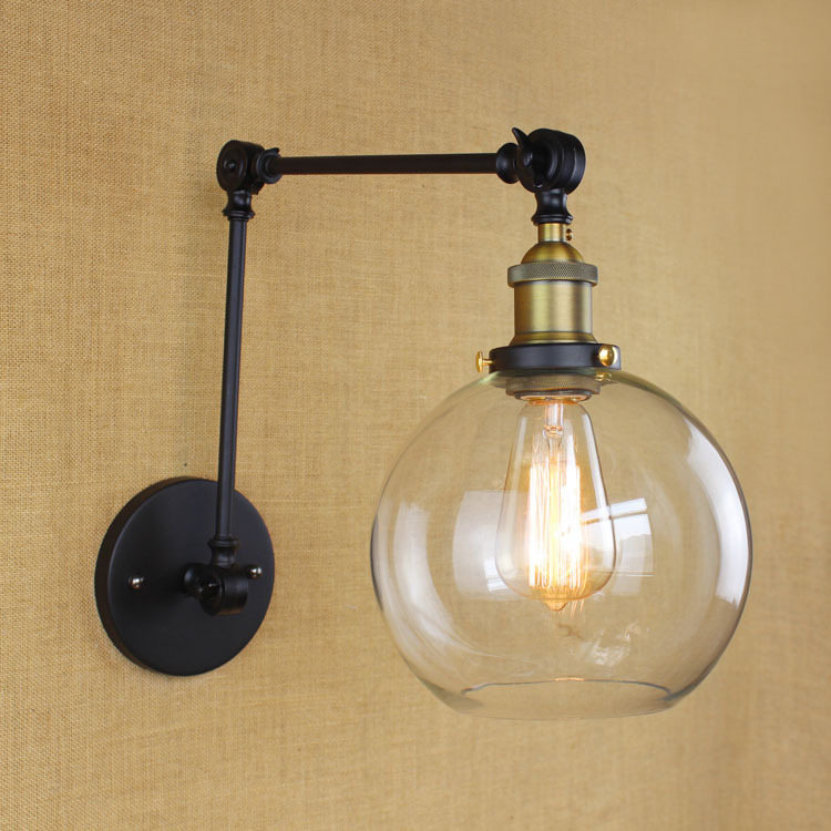 American Country Industrial Vintage Iron Wall Lamp Glass Ball Shade Foldable Swing Arm Study Bedroom Wall Light Free Shipping vintage wall lamp black gold northern american wall light with frosted glass shade bathroom bedroom wall mounted mirror front