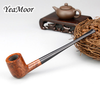 17cm Straight Briar Pipe 3mm Filter Briar Smoking Pipe Tobacco Accessory Set 100 cleaners free Briar Wood Pipe Tobacco Pipe