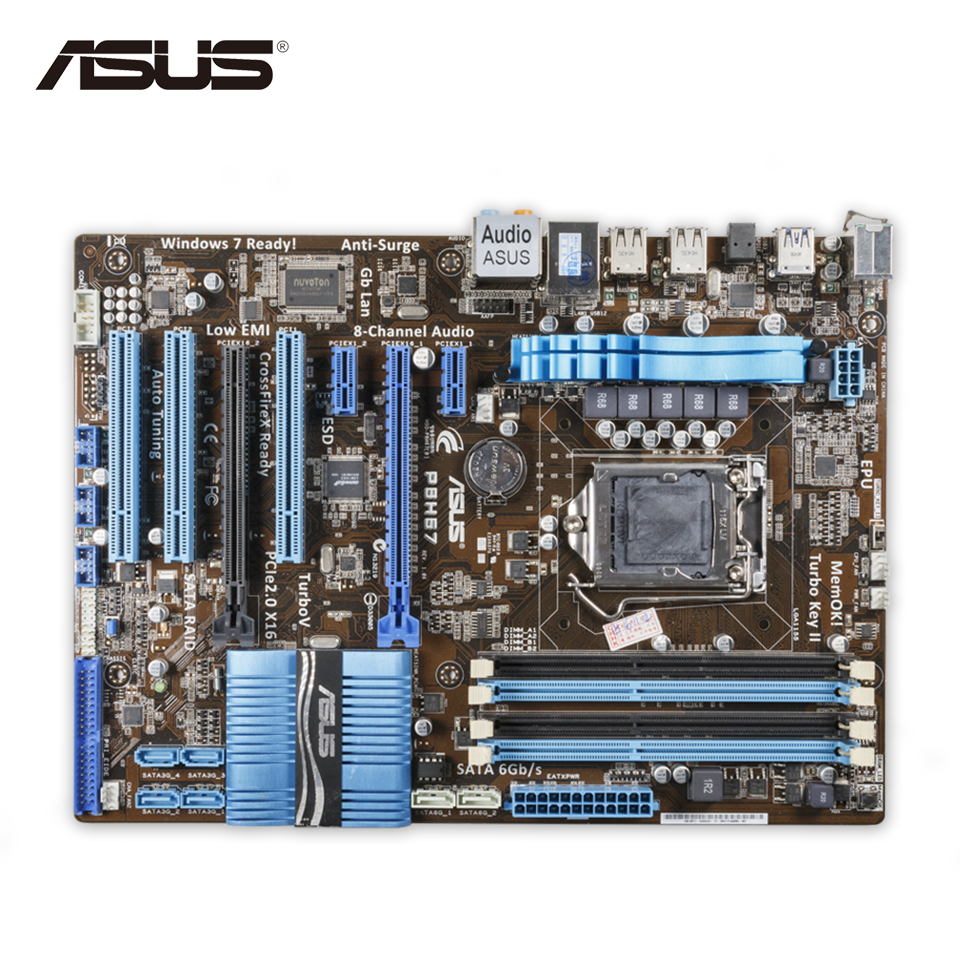 Asus P8H67 Desktop Motherboard H67 Socket LGA 1155 i3 i5 i7 DDR3 32G ATX asus p8b75 m le desktop motherboard b75 socket lga 1155 i3 i5 i7 ddr3 uatx on sale