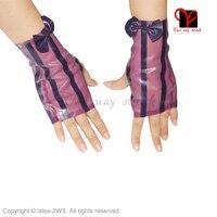 Roxo Sexy luvas Sem Dedos luvas de Látex de Borracha Gummi catsuit Curto Glovelettes Gauntlet Meia Wristlets Knuckle plus size XXXL ST-003
