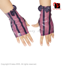 Sexy purple Latex Fingerless gloves Rubber Short dress catsuit Fetish Bondage Gummi Glovelettes Gauntlet Half Wristlets Knuckle