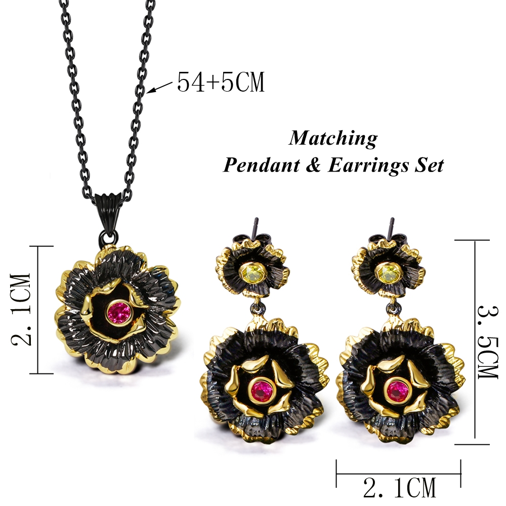 DreamCarnival 1989 Gothic Black Gold Color Flower Pendant Necklace for Ladies Fuchsia CZ Costumes Jewelry Collier Bijoux Collana