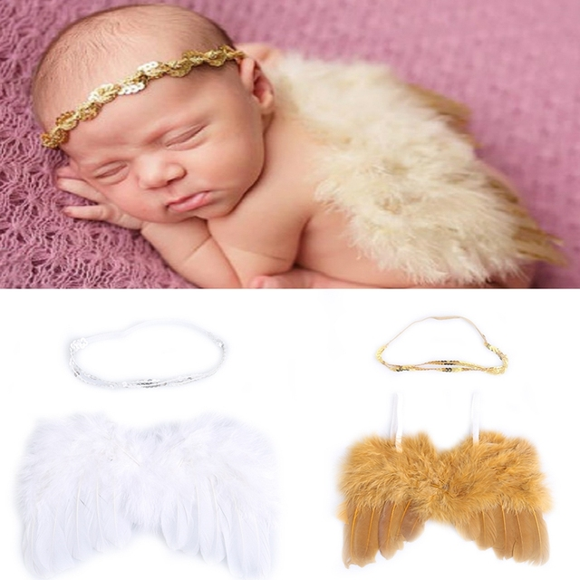 Cute Angel Baby Feather Newborn Photography Props Wings Costume Headband
