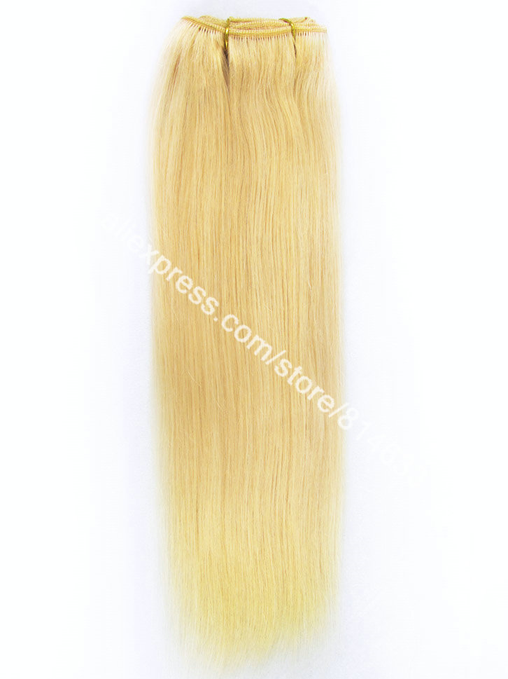 #22 Light Blonde Silky Straight 100% Indian Remy Hair Machine Weft High Quality Weaving Virgin Human Hair Extension 3pcs/lot
