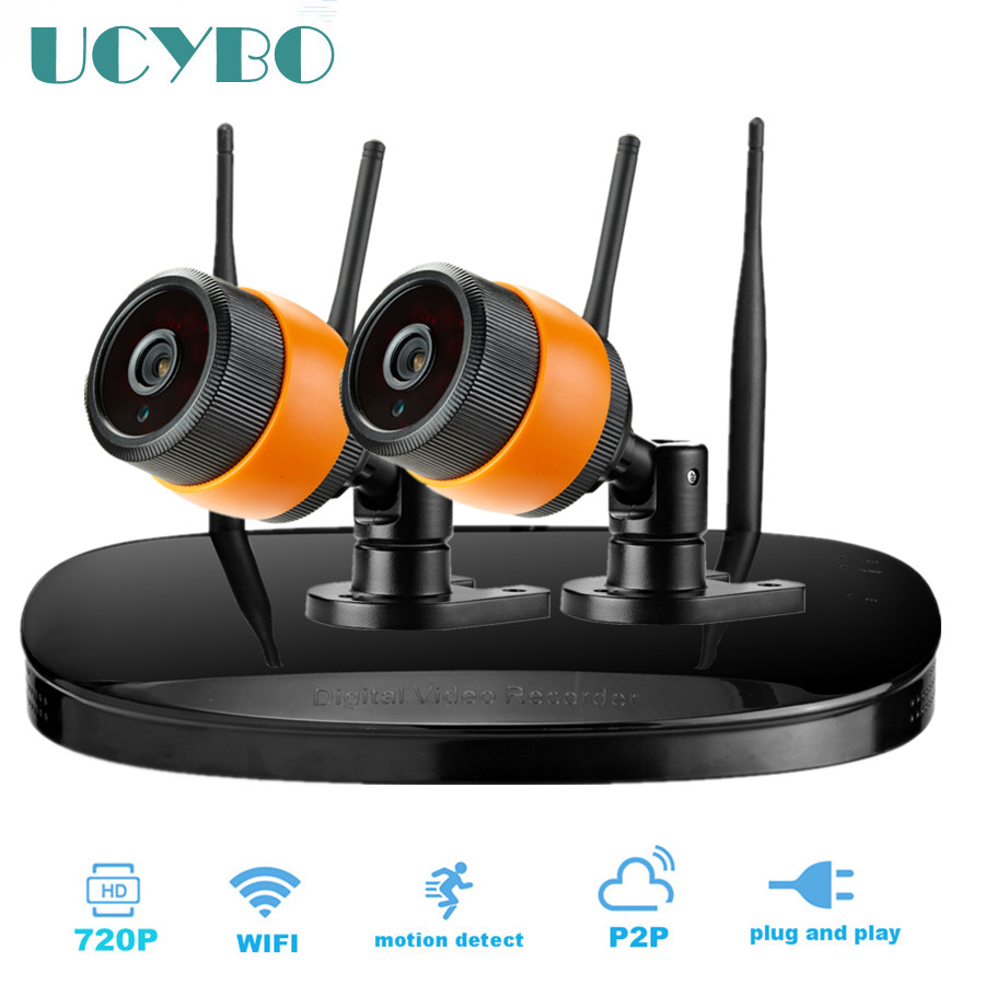 4CH wireless ip camera 720p NVR cctv system WIFI video surveillance network outdoor IR night vision security 2 ip camera kits