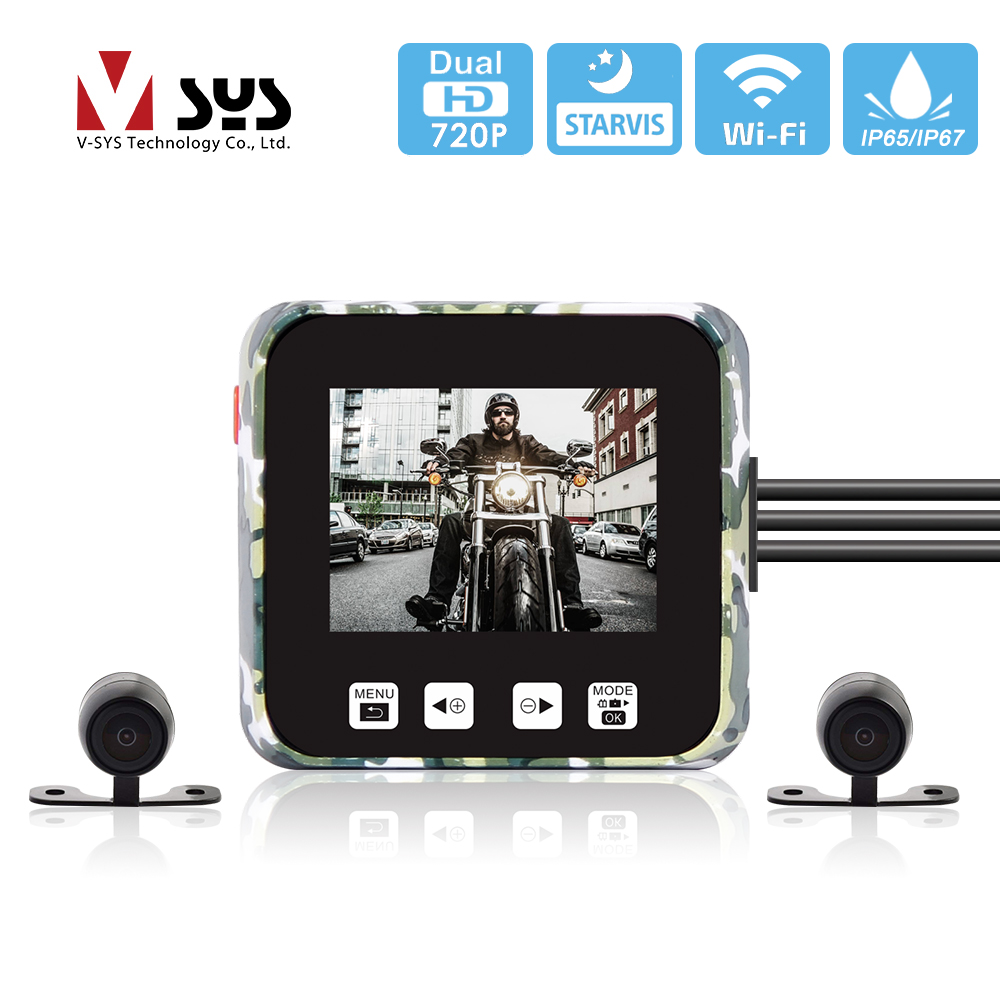 vsys c6l - SYS VSYS E6 WiFi Motorcycle Camera Recorder DVR HD 720P Super Night Vision Dual Waterproof Lens Dash Cam for Scooter ATV UTV