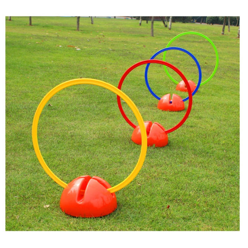 Football training mark ring with water base speed Soccer circle signs jump loop cones players running blockades