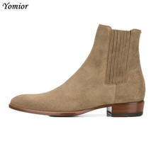 High Quality Brand Pointed Toe Chelsea Boots Genuine Leather Men Ankle Boots Business Office Banquet Fashion Big Size Shoes cheap Yomior Cow Leather Full Grain Leather Rubber Slip-On Rome L1-3 Spring Autumn Solid Fits larger than usual Please check this store s sizing info