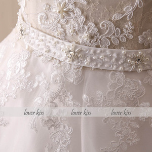 Image 5 - Lover Kiss Vestido De Noiva 2020 Ball Gown Wedding Dress Lace Pearls Sleeveless O Neck Sashes Real Bridal Gowns Bride Dress
