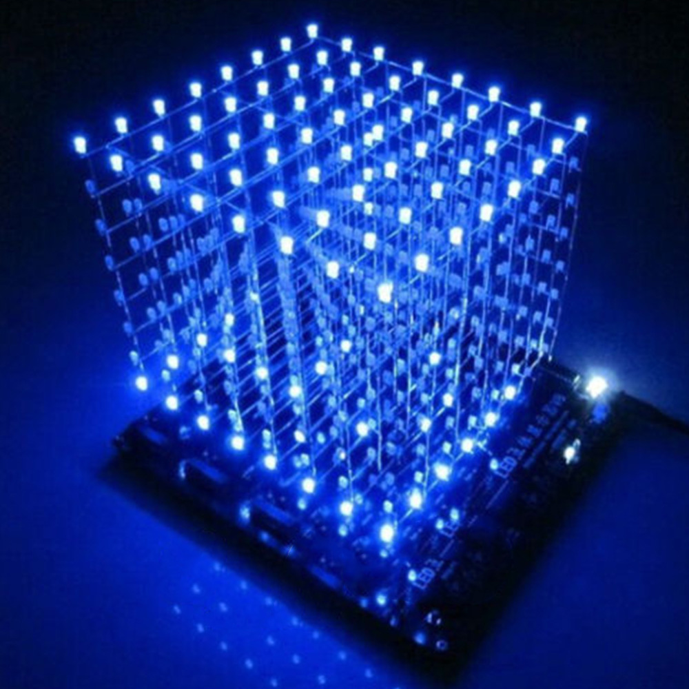 3D LED Light Squared DIY Kit 8x8x8 3mm LED Cube White LED Blue Red Ray Light PCB Board Table Lamps free shipping