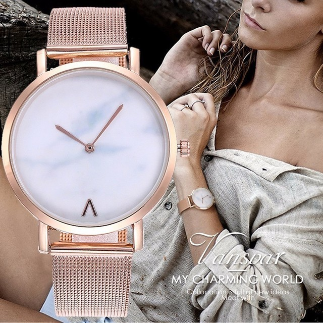 Vansvar Brand Creative Mesh Band Marble Quartz Watch Casual Women Stainless Stee