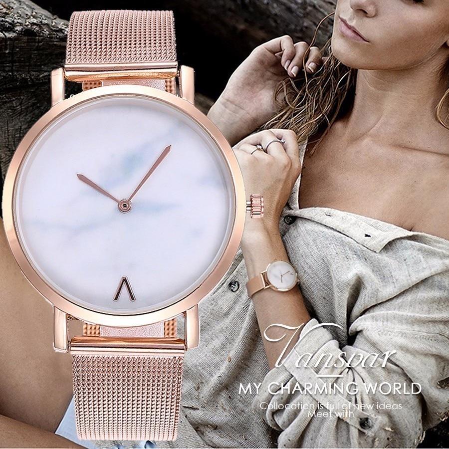Vansvar Brand Creative Mesh Band Marble Quartz Watch Casual Women Stainless Stee
