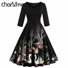 CharMma 4XL 3XL Plus Big Size Vintage Women Dress 50s 60s Audrey Hepburn Print Pleat Retro Tunic Vestido Black Dresses With Belt