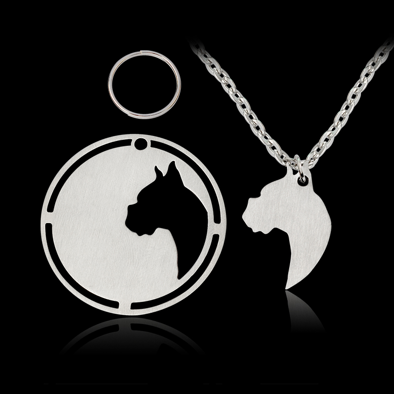 2 pcs/set Silhouette Dog Necklace Boxer Cropped ears boxer Dog Tag Pendant Necklace Women Men Animal Jewelry Silver Pet Gift