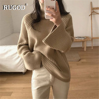 RUGOD Vintage Fashion Turtleneck Women Pullovers Solid Casual Loose Women Sweaters Knitted Winter Clothes pull femme hiver