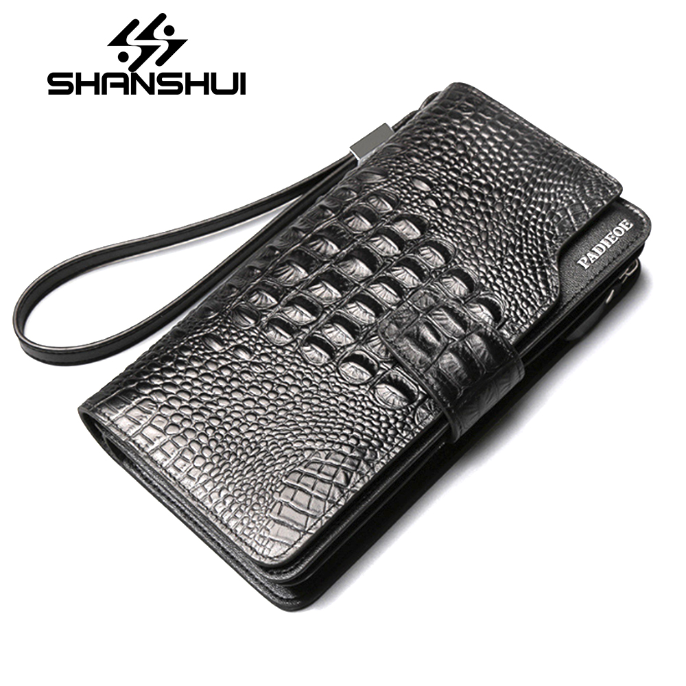 Men Famous Brand Genuine Leather Zipper Clutch Wallet Male Crocodile Pattern Purses Lady Multi-Function Phone Bag Purse Carteira 2017 luxury brand men genuine leather wallet top leather men wallets clutch plaid leather purse carteira masculina phone bag