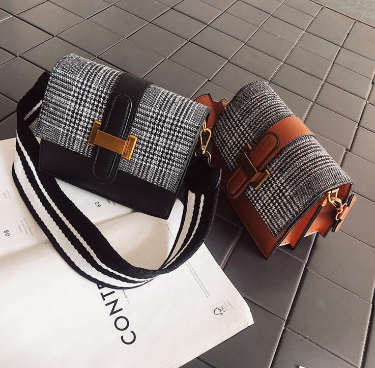 Contrast Color Plaid Wide Strap Women Shoulder Bag #1973 Fashion Woman Crossbody Bag Christmas Girlfriend Gift