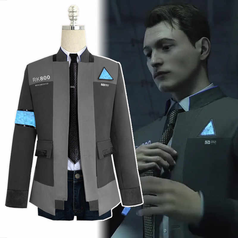 New Type Game Detroit: Become Human Connor RK800 Agent Suit Uniform Tight Unifrom Cosplay Costume for Halloween Carnival On Sale