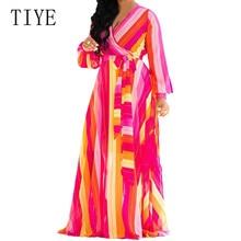 TIYE Vintage Print Chiffon Boho Maxi Sundress Plus Size Beach Vacation Midi Autumn Dresses Elegant Women Bodycon Party Vestidos
