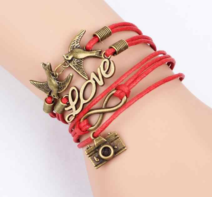 High Quality 2018 Hot 1PC Braided Pink Color Leather Wax Cord Loving Symbol Bracelet Fashionable Women Jewelry best gift
