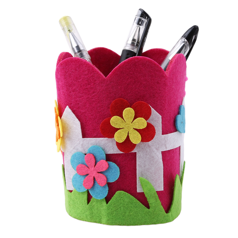 1 Set Children DIY Handmade Craft Toys Pen/Brushes Container Holder Sewing Pen Holder Puzzle Kids Handcraft Toy Cute Cartoon Toy