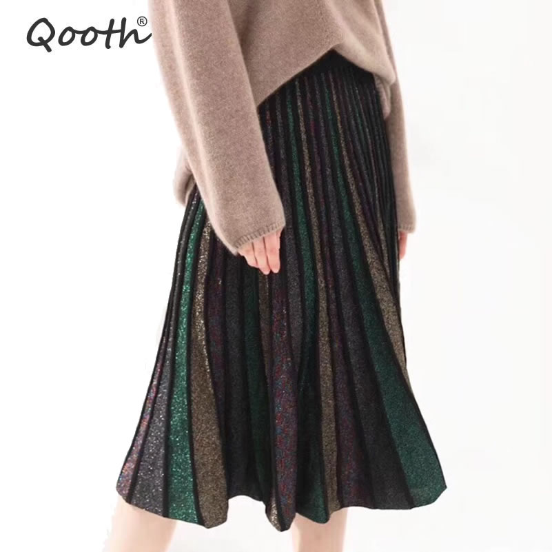 Qooth Skirts Women 2019 Spring Summer Sequins Elegant Viscose Multi Colors Golden Thread Knitted Fashion Midi