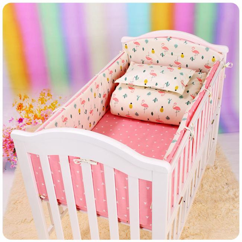 6Pcs Nordic Baby Bedding Set Bumper Cotton Print Crib Anti-impact Newborn Pillow Case Bed Sheet Baby Bed Bumper Bedding 120*60 contrast striped print bedding set