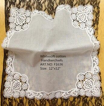 Mouchoirs de mariage pour femmes 12x12 blanc | Mouchoirs à la mode, 100% coton, mouchoirs de mariage brodés bords en dentelle, pour Occasions, 12 pièces/lot