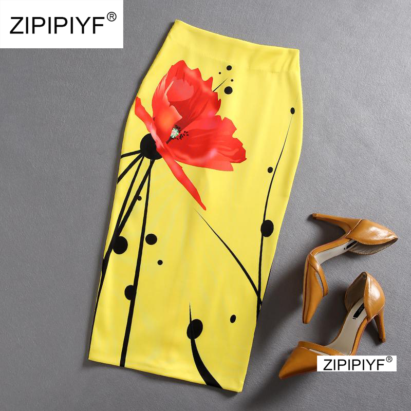 Split Ruffle OL Pencil Skirt Women Yellow Sexy Slim Elegant Work Summer Skirts 2018 Fashion New