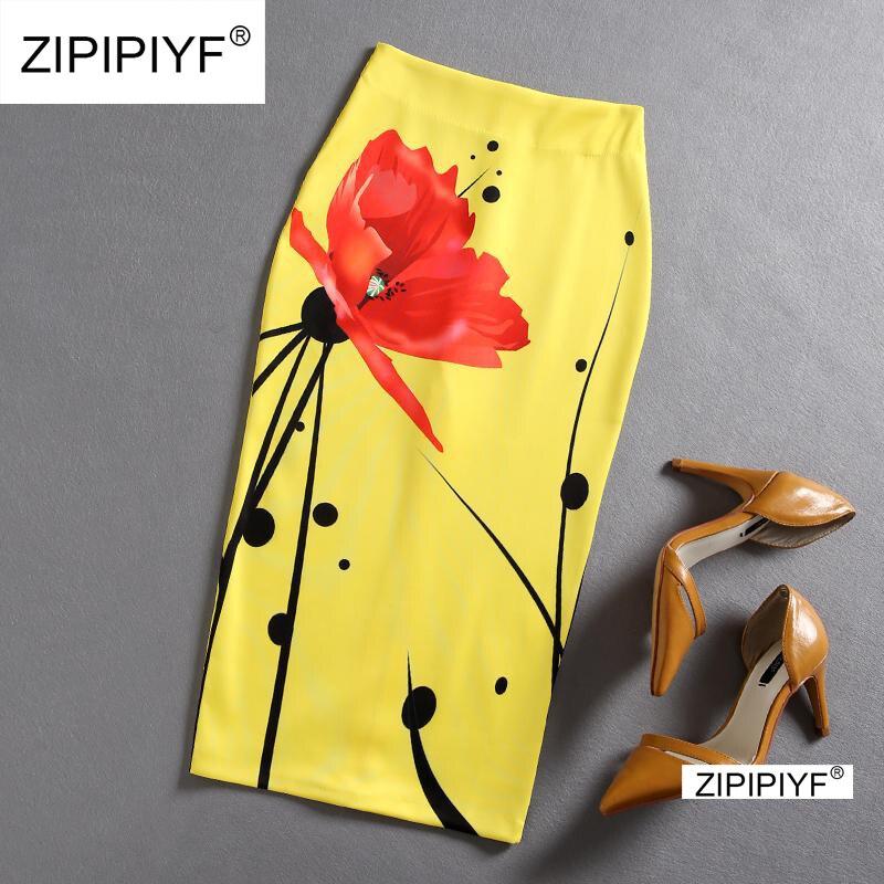 分割フリル Ol ペンシルスカートの女性の黄色セクシーなスリムでエレガントなワーク夏のスカート 2018 ファッション新簡単なハイウエストスカート d1514  グループ上の レディース衣服 からの スカート の中 1