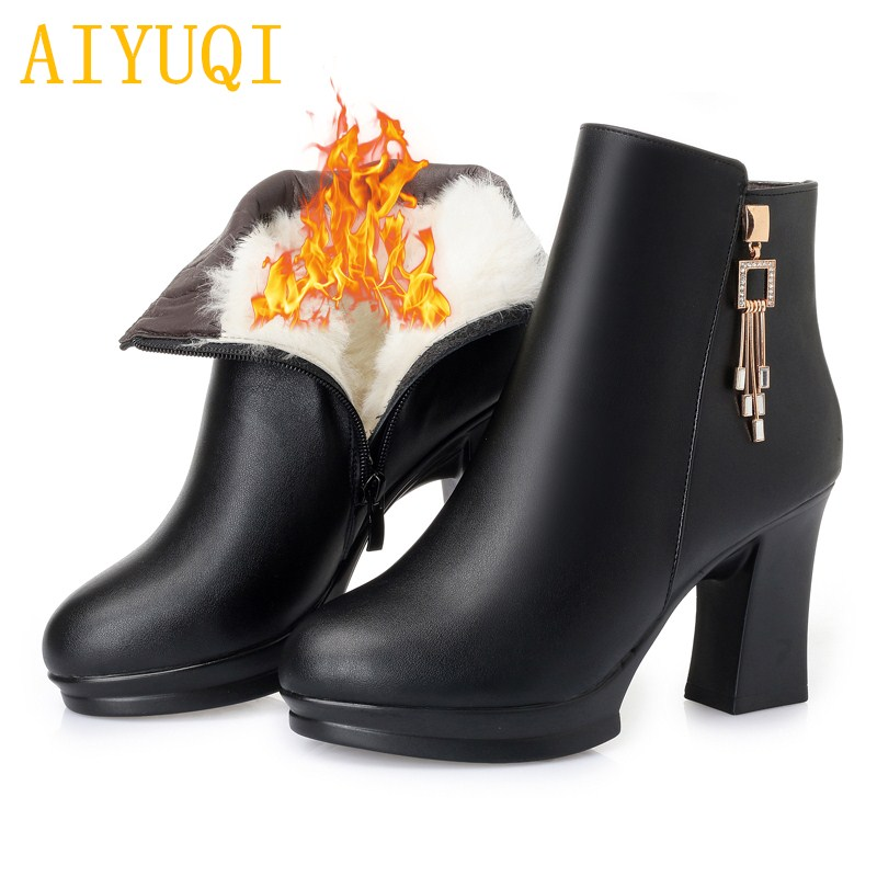 AIYUQI Women boots 2018 winter new genuine leather female snow boots, high-heeled wool warm women Martin boots red wedding boots 2017 new women s genuine leather boots motorcycle boots rough with in tube high heeled boots thick wool really pima ding