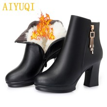AIYUQI Women boots 2019 winter new genuine leather female snow boots, high-heeled wool warm women Martin boots red wedding boots цена и фото