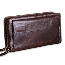 Genuine Leather Men Clutch Wallet Men's Large Capacity Travel Purse for Passport Cover Business Men Handy Clutches Long Wallet williampolo minimalist business men s clutch bag genuine leather flap handy wallet men clutches with cigarette case phone pocket