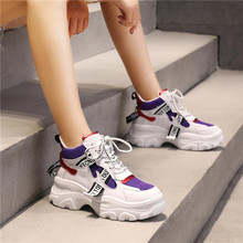 Mlcriyg 2019 Spring New Leather Womens Platform Chunky Sneakers Fashion Women Flat Thick Sole Running Shoes Woman Dad Footwear
