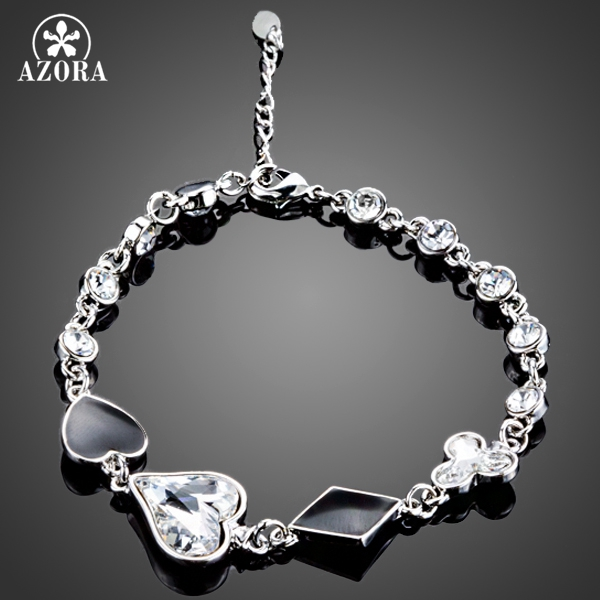 AZORA Romantic Heart Stellux Austrian Crystal Women Bracelet for Valentine's Day Gift TS0103