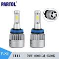 Partol H11 Led Car Headlight Bulbs Cob Chips 72W 8000lm Single Beam Front Fog Light Headlamp Kit Work Lights 12V 24V For Ford