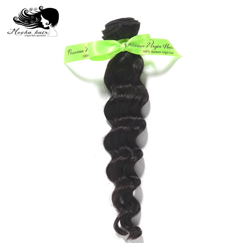 Mocha Hair Loose Wave peruvian Virgin Hair extension Nature Color 100 Unprocessed Human Hair Weaves 12inch
