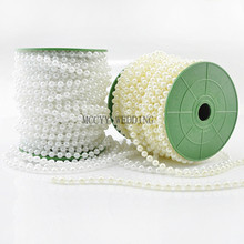 Hot sale White Ivory 6MM GArtificial Pearls Bead Garland Spool Rope Wedding Party home Decoration free ship